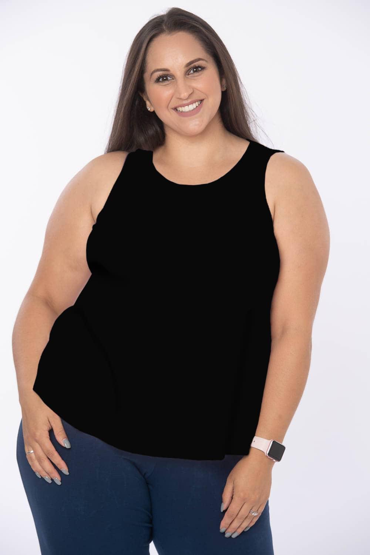 Womens plus size comfy fit black vest top