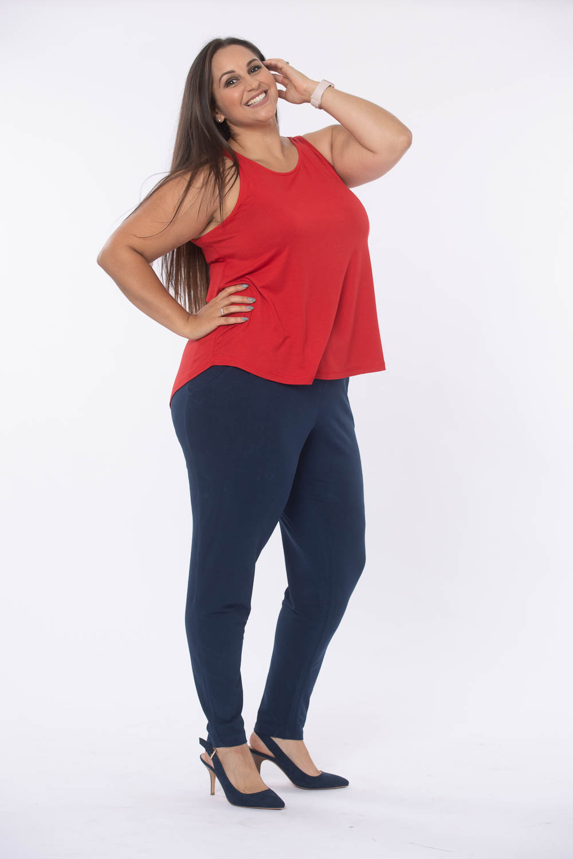 Womens plus size comfy fit red vest top