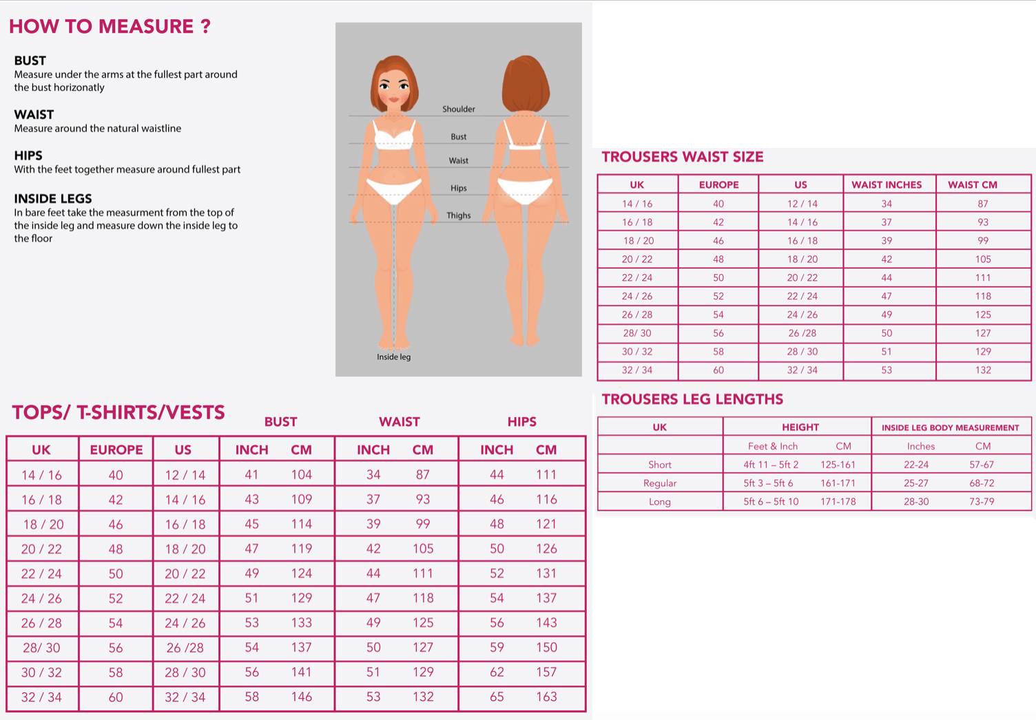 Size guide Trousers and Tops